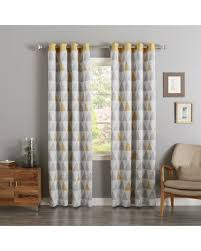 Yellow And Grey Curtain Panels Great Deal On Aurora Home Mix Triangle Print Room Darkening Silver