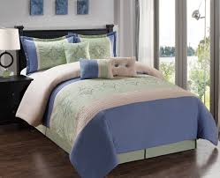 7 piece blue sage beige comforter set