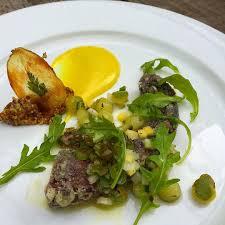 cuisine fust crispy octopus curry mayo charred scallion vinaigrette zucchini