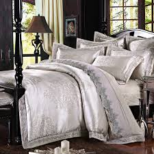 silver silk luxurious bedclothes cotton bed sheets queen size