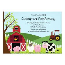 farm animal birthday invitation zazzle