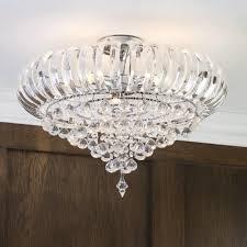 june 3 light crystal droplet semi flush chrome ceiling light