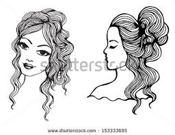 black white sketches beautiful girls vector stock vector 137313008