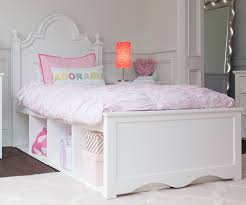 White Solid Wood Bedroom Furniture by Craft Furniture Adelaide Twin Size Panel Bed With Cubbies In White