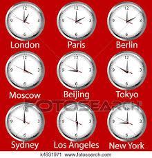 clipart of clocks showing the time around the world time zone