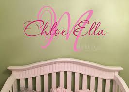 Monogram Wall Decals For Nursery Monogram Wall Decal Nursery Name Initial And Name Monogram Vinyl