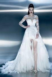 beautiful white lace hi lo wedding gown pictures photos and