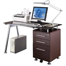 Computer Desk With File Cabinet by Techni Mobili Rta 1565 Ch36 Glass Top Desk With Built In File