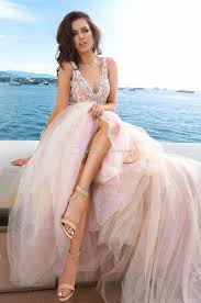 discount princess romantic blush lace wedding dresses 2017 crystal