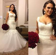 long mermaid lace wedding gowns 2016 v neck long ivory