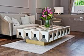 contemporary coffee table wooden marble rectangular