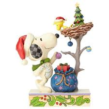 jim shore peanuts snoopy and woodstock trim the tree figurine