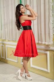 red a line princess one shoulder knee length satin ruch