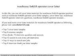 Resume Application Letter Sample by Warehouse Forklift Operator Cover Letter