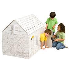 hide and seek cardboard coloring playhouse cardboard house