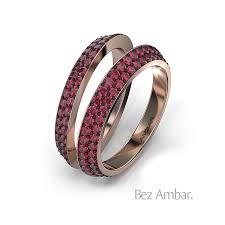 Wedding Ring Enhancers by Double Row Ruby Bands Bookend Ring Enhancers