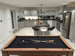 black cloth kitchen pool table in grey kitchen signature