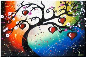 tree of life home decor red hearts tree of life art print home decor 8 5 x 12 5 signed on