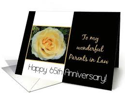 65th wedding anniversary card for parents in yellow