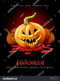 halloween pumpkin jackolantern angry face red stock vector
