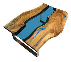 live edge coffee table with turquoise stone in the table top