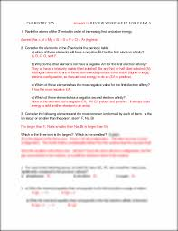 Patterns In Electron Configuration Worksheet Exam 3 Worksheet Key Chemistry 105 Answers To Review Worksheet