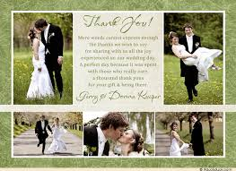 what to say in a wedding thank you card wedding thank you collage card special photos green