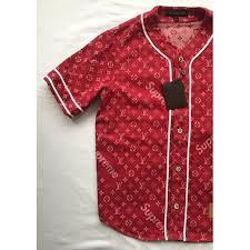 red louis vuitton x supreme t shirt vestiaire collective