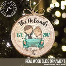 wedding ornament just married newlywed wood ornament
