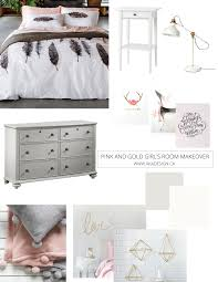 pink and gold u0027s bedroom makeover before photos plans and