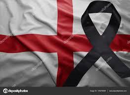flag of england with black mourning ribbon u2014 stock photo