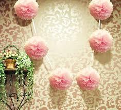 pink garland 6 light pink hanging tissue paper flower pom pom party garland