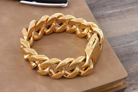 bracelet gold man stainless steel images Accessories wholesale heavy big gold plated stainless steel jpg