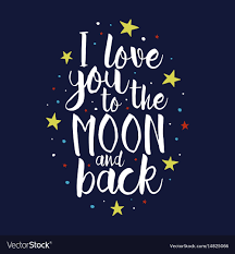 i you to the moon and back quote royalty free vector
