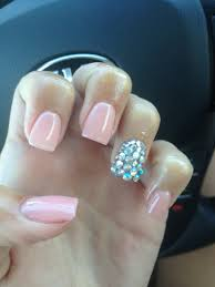 nails with rhinestones on ring fingers nails pinterest