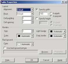Table Cell Spacing Creating Tables In Frontpage U0027how To U0027 Guides Web Editors