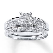 white gold wedding band sets diamond bridal set 1 3 ct tw cut 10k white gold