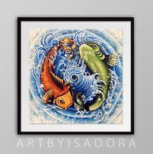 koi fish print japanese style yin yang design