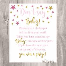 clothespin baby shower don t say baby sign baby shower printable pink and gold
