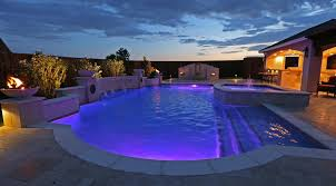 grecian pool with bubblers led lighting travertine water bowls