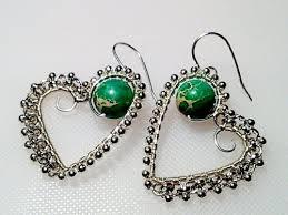 vire earrings free pattern silver beaded heart wire earrings by