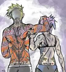 naruto and sakura au tattoo edition back by opera de glace on