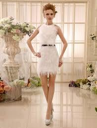 feather satin ivory bridal short wedding dress with sheath jewel