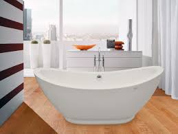 bathroom free standing elips bathtub with chrome faucet on