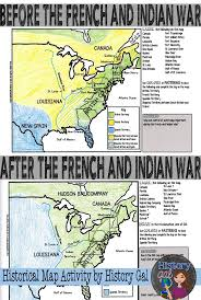 the map depicts the before and after of the french and indian war