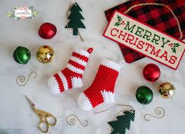 Crochet Christmas Stocking Tree Decoration by Crochet Mini Stockings Christmas Ornament Sewrella