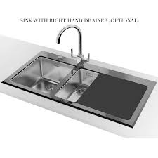 Franke Kubus KBV  Black Glass  Bowl Inset Kitchen Sink - Black glass kitchen sink