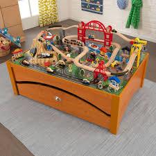carousel train table set kidkraft disney cars cadillac range 61 piece racetrack set