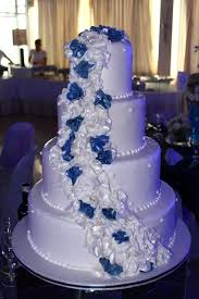 wedding cake og 4 layer white wedding cake with cascading white and navy blue