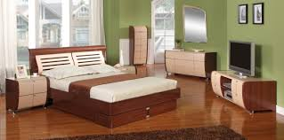 Compact Queen Bed Cherry Cream Queen Size Bed Set With Compact Style Cabinets
